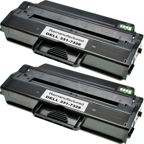Twin Pack - Remanufactured replacement for Dell 331-7328 (RWXNT) black laser toner cartridges