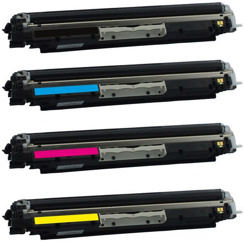 4 Pack - Remanufactured replacement laser toner cartridges for HP 130 Black HP 130A Color Set