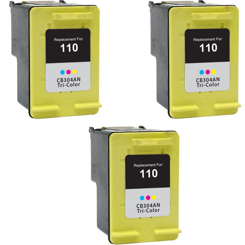 Tri-Pack - Remanufactured replacement for HP 110 (CB304AN) color ink cartridges