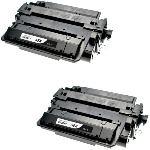 Twin Pack - Remanufactured replacement for HP 55X (CE255X) black laser toner cartridge