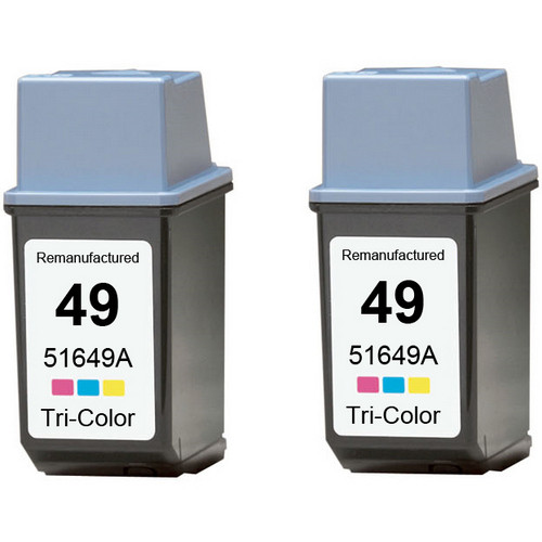 Twin Pack - Remanufactured replacement for HP 49 (51649A) color ink cartridges
