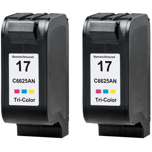 Twin Pack - Remanufactured replacement for HP 17 (C6625A) color ink cartridges