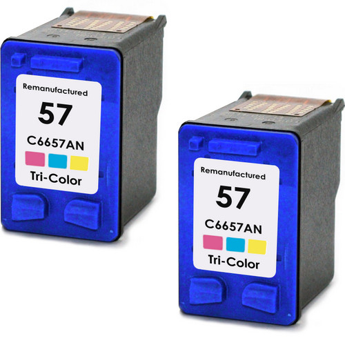Twin Pack - Remanufactured replacement for HP 57 (C6657AN) color ink cartridges