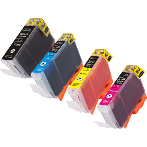 4 Pack - Compatible replacement for Canon BCI-3 Black and BCI-6 Color ink cartridges