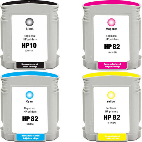 4 Pack - Remanufactured replacement for HP 10 and 82 series ink cartridges
