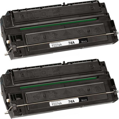 Twin Pack - Remanufactured replacement for HP 74A (92274A) black laser toner cartridge