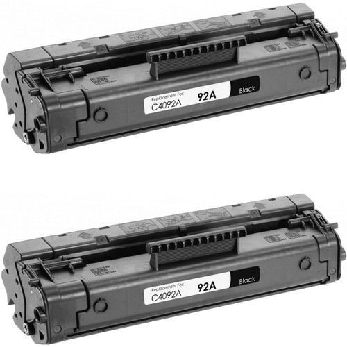 Twin Pack - Remanufactured replacement for HP 92A (C4092A) black laser toner cartridge