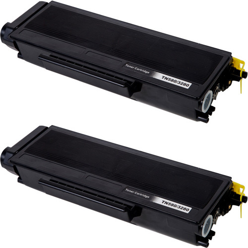Twin Pack - Compatible replacement for Brother TN580 black laser toner cartridge