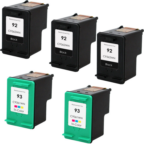 5 Pack - Remanufactured replacement for HP 92 and HP 93 ink cartridges