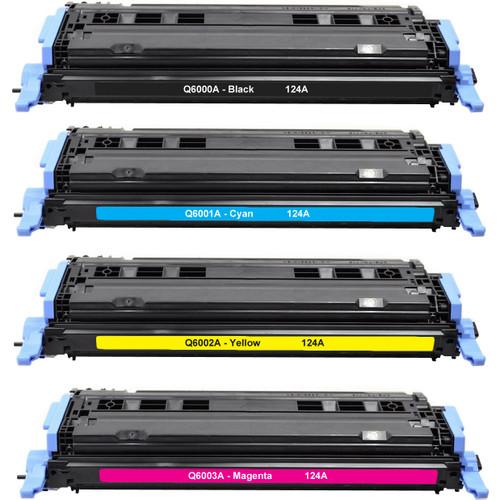 4 Pack - Remanufactured replacement for HP 124A series toner cartridges (Q6000A, Q6001A, Q6002A, Q6003A)