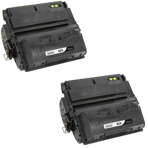 Twin Pack - Remanufactured replacement for HP 42X (Q5942X) black laser toner cartridge