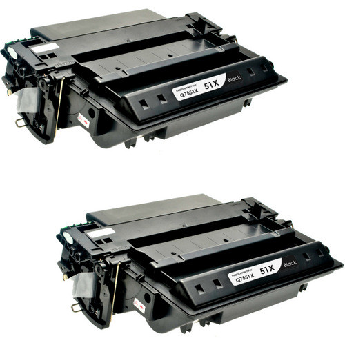 Twin Pack - Remanufactured replacement for HP 51X (Q7551X) black laser toner cartridge