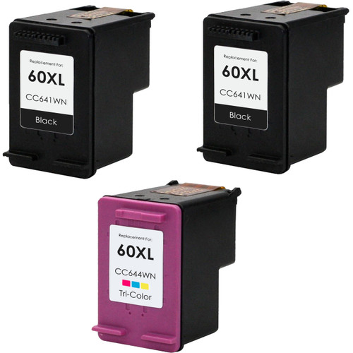 3 Pack - Remanufactured replacement for HP 60XL series ink cartridges