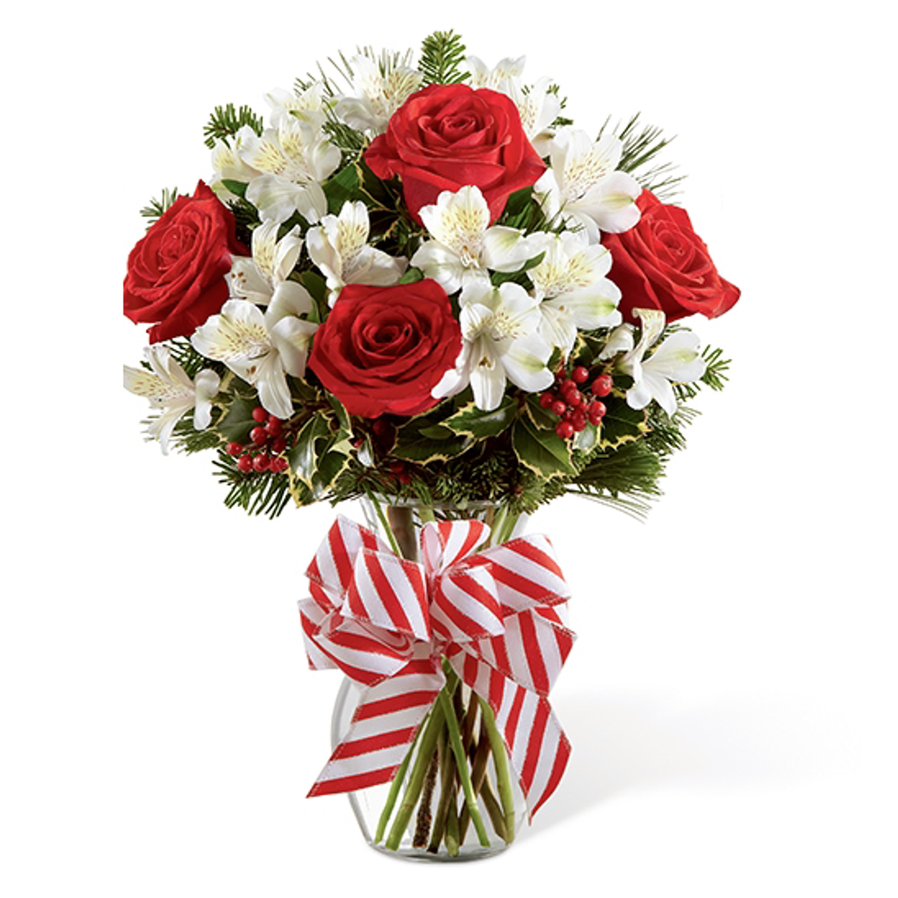 Holiday enchantment bouquet christmas flowers holiday flowers red white peruvian lilies lily mightylinksfo