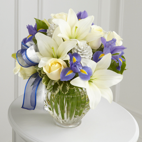 Blue iris, white roses, Asiatic lilies, Hanukkah Bouquet