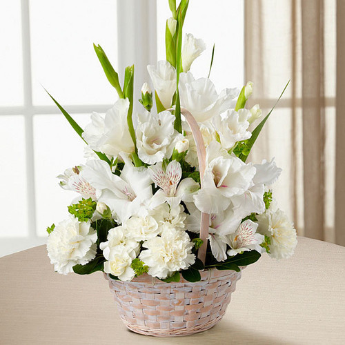 Eternal Affection, funeral flowers, white gladiolus, Peruvian lilies, carnations, mini carnations, peace lily, funeral basket