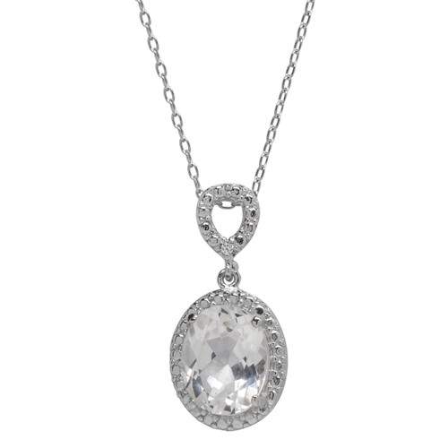 White Sapphire Jewel Necklace (April Birthstone)
