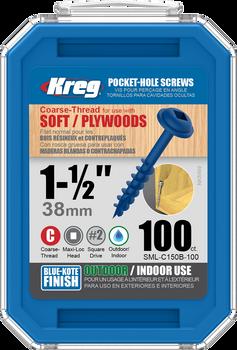"Kreg Blue-Kote WR Pocket Screws 1-1/2"", #8 Coarse, Washer Head 100 Count (SML-C150B-100)"