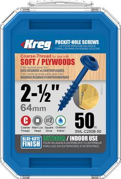"Kreg Blue-Kote WR Pocket Screws 2-1/2"", #8 Coarse, Washer Head 50 Count (SML-C250B-50)"