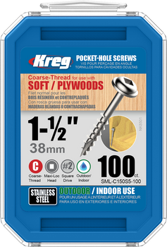 "Kreg Stainless Steel Pocket-Hole Screws 1-1/2"", #8 Coarse, Washer-Head, 100 Count (SML-C150S5-100)"
