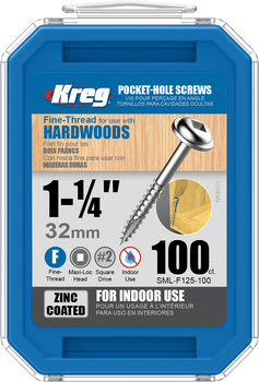 "Kreg Zinc Pocket-Hole Screws 1-1/4"", #7 Fine, Washer-Head, 100 Count (SML-F125-100)"