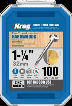 "Kreg Zinc Pocket-Hole Screws 1-1/4"", #6 Fine, Pan-Head, 100 Count (SPS-F125-100)"