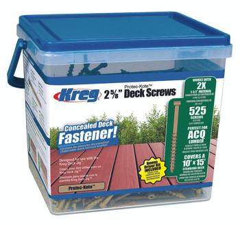 "Kreg Protec-Kote Deck Screws 2-5/8"", #8 Coarse, Pan Head, 525 Count (SDK-C262W-525)"