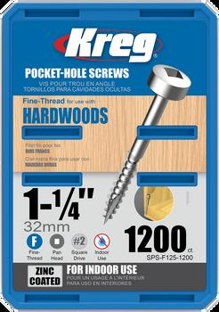 "Kreg Zinc Pocket-Hole Screws 1-1/4"", #6 Fine, Pan-Head, 1200 Count (SPS-F125-1200)"