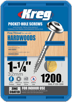 "Kreg Zinc Pocket-Hole Screws 1-1/4"", #7 Fine, Washer-Head, 1200 Count (SML-F125-1200)"