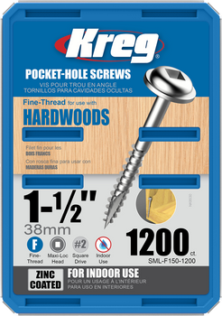 "Kreg Zinc Pocket-Hole Screws 1-1/2"", #7 Fine, Washer-Head, 1200 Count (SML-F150-1200)"