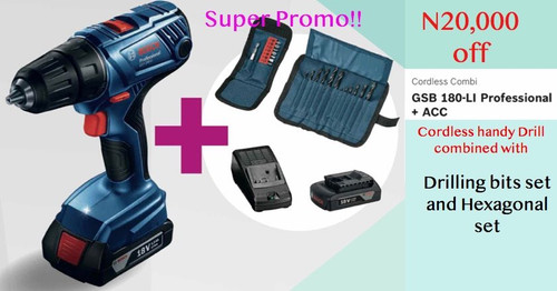 Bosch Cordless Impact Drill GSB 180 Li combo with accessories