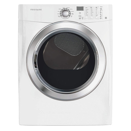 Dryer, 7.0 cu ft, white colour, electric. L arge-capacity unit includes wrinkle-release setting for neat, wrinkle-free clothes. Features a balanced dry system and a moisture sensor that dries clothes evenly and efficiently for excellent results. Reversible door can be installed in a right or left orientation to fit your space.