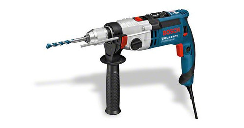 Bosch GSB 21-2 RCT professional impact Drill The most important data Rated power input 1.300 W Drilling diameter in masonry 24 / 16 mm Drilling diameter in wood 40 / 25 mm