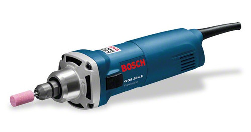 Bosch GGS 28 CE Professional straight grinder The most important data Rated power input 650 W No-load speed 10.000 – 28.000 rpm Bit holder Collets up to 8 mm diameter