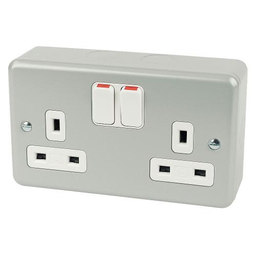 electrical socket 13A 2-Gang DP Switched Plug Socket Metal-Clad