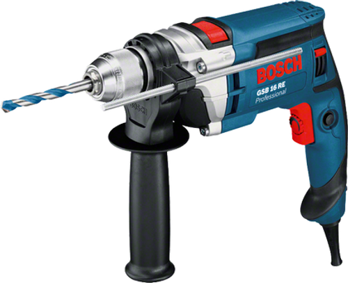 "Buy Bosch GSB 16 Impact drill online at GZ Industrial Supplies Nigeria  The most important data  Here you will find the most important technical data for your professional Bosch tool at a glance! Rated power input 	750 W No-load speed 	0 – 2.800 rpm Power output 	380 W Weight 	2,2 kg Torque (soft screwdriving applications) 	18,0 Nm Rated torque 	2,3 Nm Drill spindle connecting thread 	1/2"" – 20 UNF Chuck capacity 	1,5 – 13 mm Length 	285,0 mm Height 	214,0 mm Impact rate at no-load speed 	0 – 47.600 bpm drilling range 	 Drilling diameter in concrete 	16 mm Drilling diameter in wood 	30 mm Drilling diameter in steel 	13 mm Drilling diameter in masonry 	18 mm"