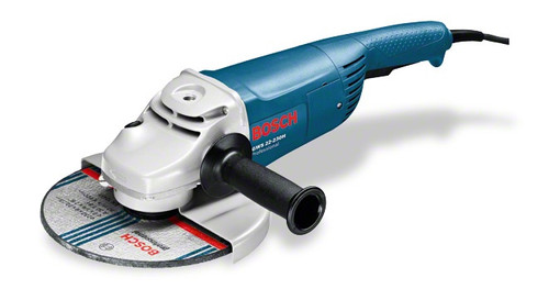 "Bosch angle grinders 9"" GWS 22-230 H Professional Compact powerful tool for the toughest jobs Powerful 2200 W Champion motor – for fast work progress Low weight for optimum handling Anti-rotation protective guard – reliably protects the user if the grinding disc breaks Anti-rotation protective guard – reliably protects the user if the grinding disc breaks Armoured coils that protect the motor against sharp grinding dust ensure long lifetime Double-sealed ball bearings and the especially sturdy gearing guarantee a long lifetime"