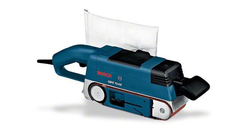 Bosch Sander GBS 75 AE Set Professional The robust, handy tool Extremely handy for removing, surface sanding, smoothing and cleaning on wood, plastic and metal Sturdy toothed belt and metal toothed belt wheels for long lifetime Aluminium rollers for heavy-duty use Optimised sanding results due to graphite-coated sanding plate