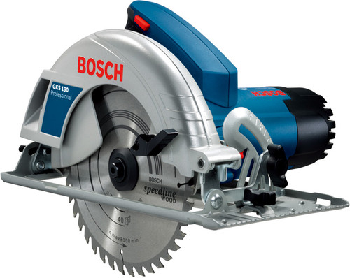 Bosch hand held circular saw machine GKS 190 Professional  The most powerful tool in the entry level class With 1400 watts, it has the highest motor power in its class for fast sawing progress in soft and hard wood Highest cutting depth (70 mm) and bevel capability (56°) in its class for flexibility in any work situation Compact tool design for best handling