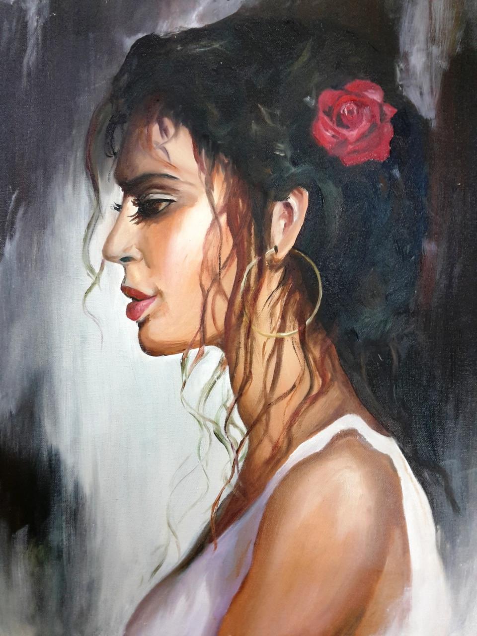 buy the spanish woman handmade painting by amaey parekh code