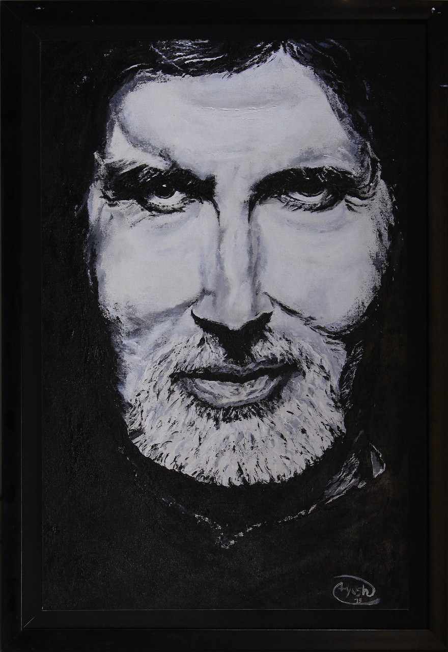 buy amitabh bachchan handmade painting by ayush agrawal code art 306 8050 paintings for sale. Black Bedroom Furniture Sets. Home Design Ideas