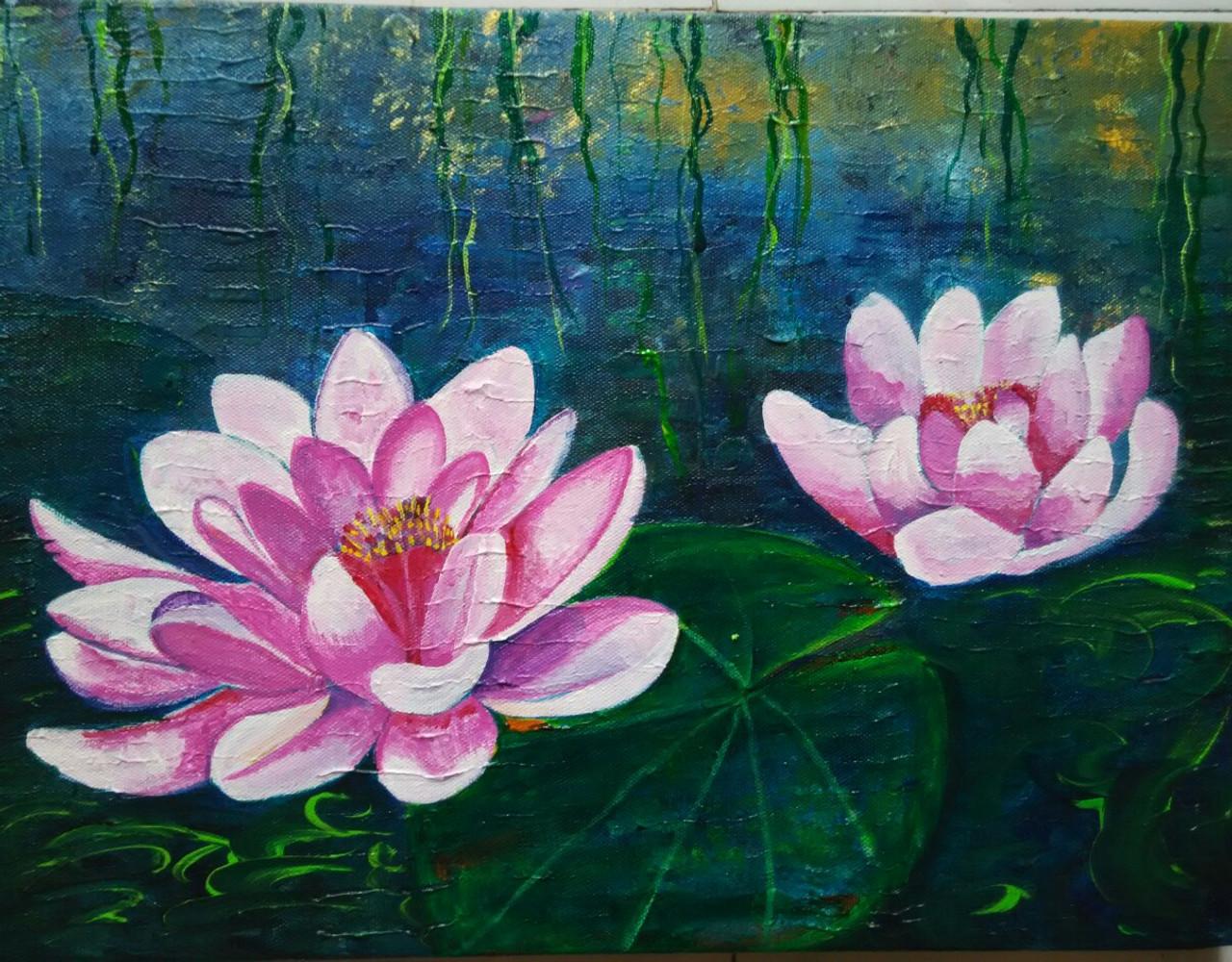 Buy lotus handmade painting by ujwala chavan codeart124311386 lotusart124311386artist ujwala chavanacrylic izmirmasajfo