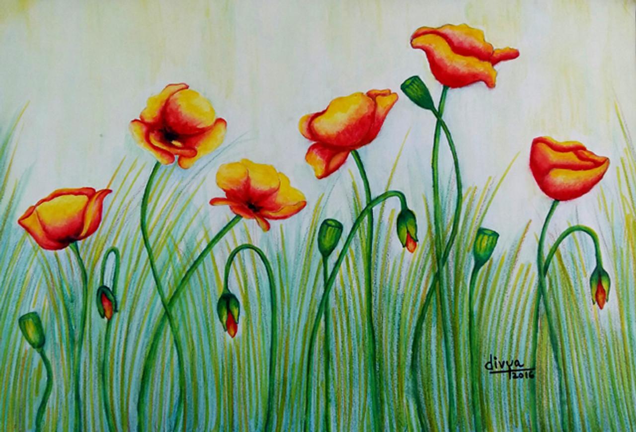 Buy poppy flowers handmade painting by divya kakkar code nature floral poppy flowerspoppy flowersart146211991artist divya mightylinksfo