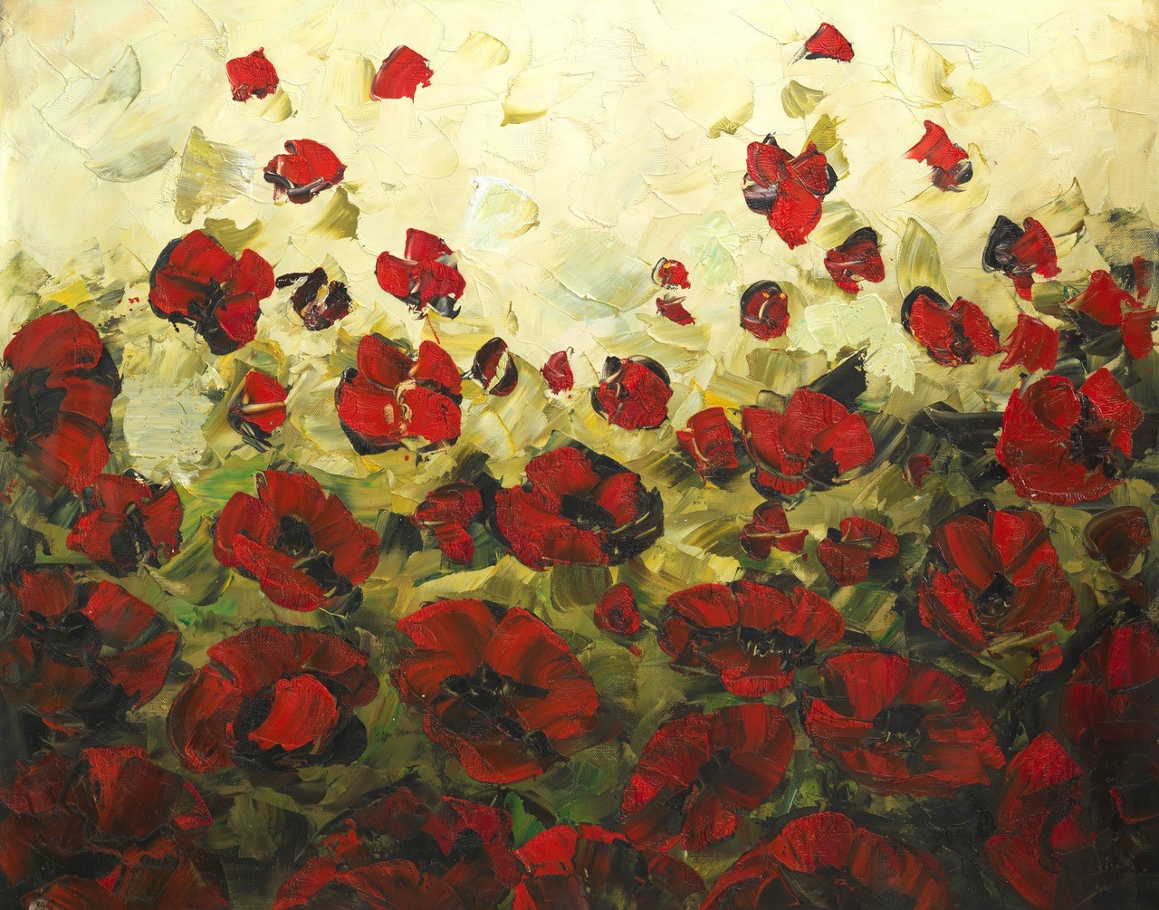 Buy Beautiful Red Flowers Handmade Painting By Community Artists