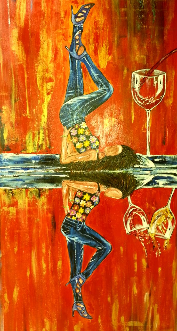 AbstractDouble W Temptation Abstract Art Canvas PaintingART 1252 13260Artist Neeraj Raina