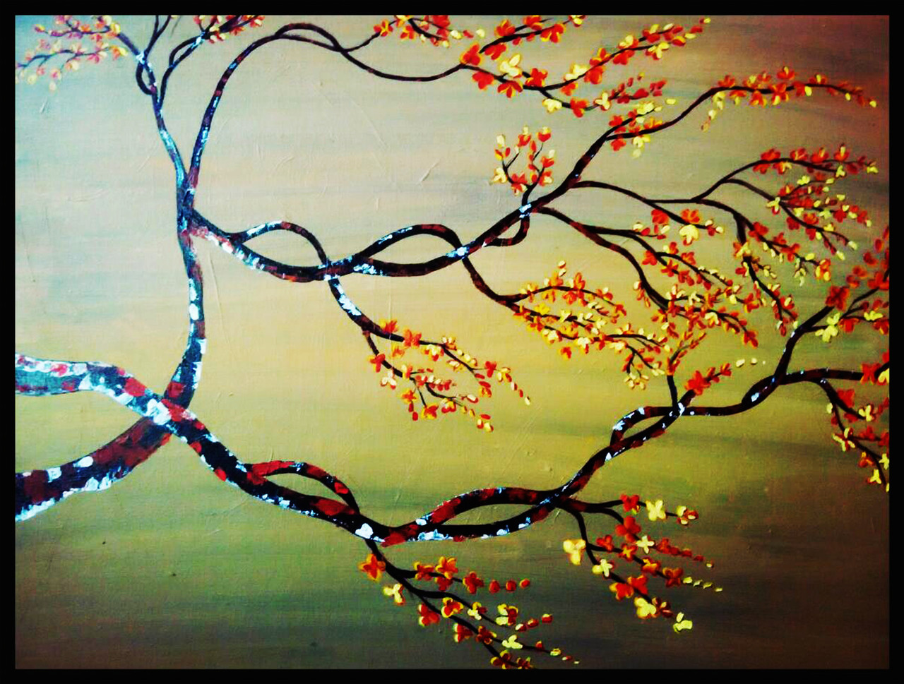 Buy Magic tree with red leaves and yellow flowers Handmade Painting ...