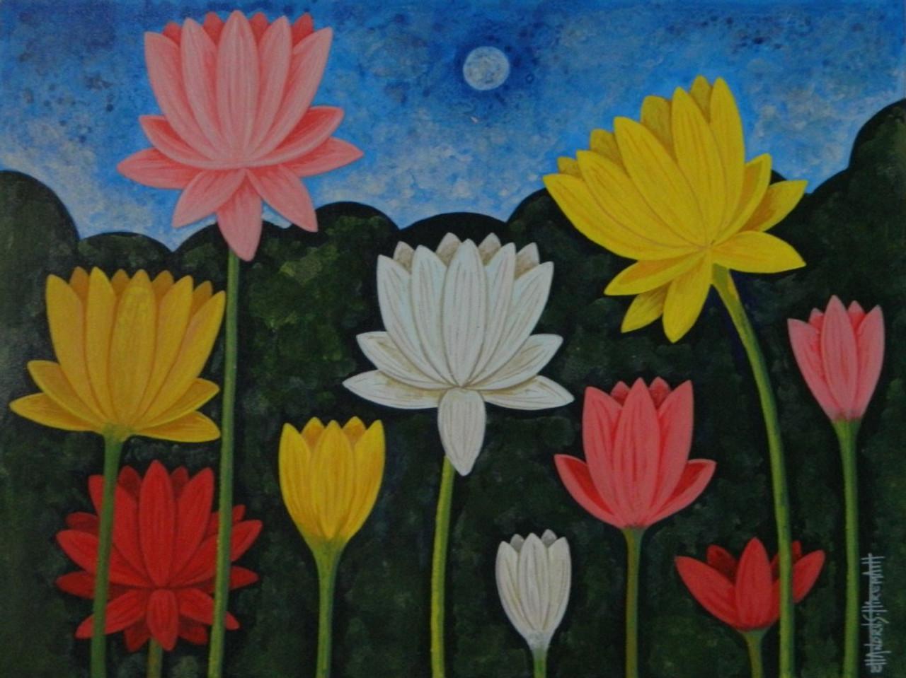 Buy lotus csh0019 handmade painting by chandru s hiremath code lotus flower florallotus csh0019art22314167artist chandru s hiremath mightylinksfo