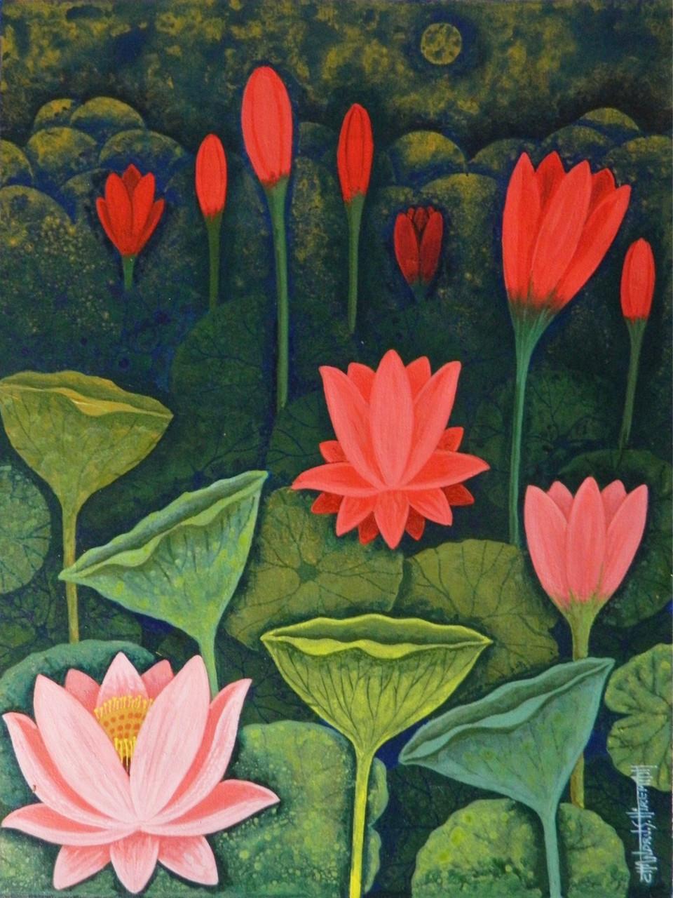 Buy lotus csh0015 handmade painting by chandru s hiremath code lotuslotus csh0015art22314153artist chandru s hiremathacrylic izmirmasajfo