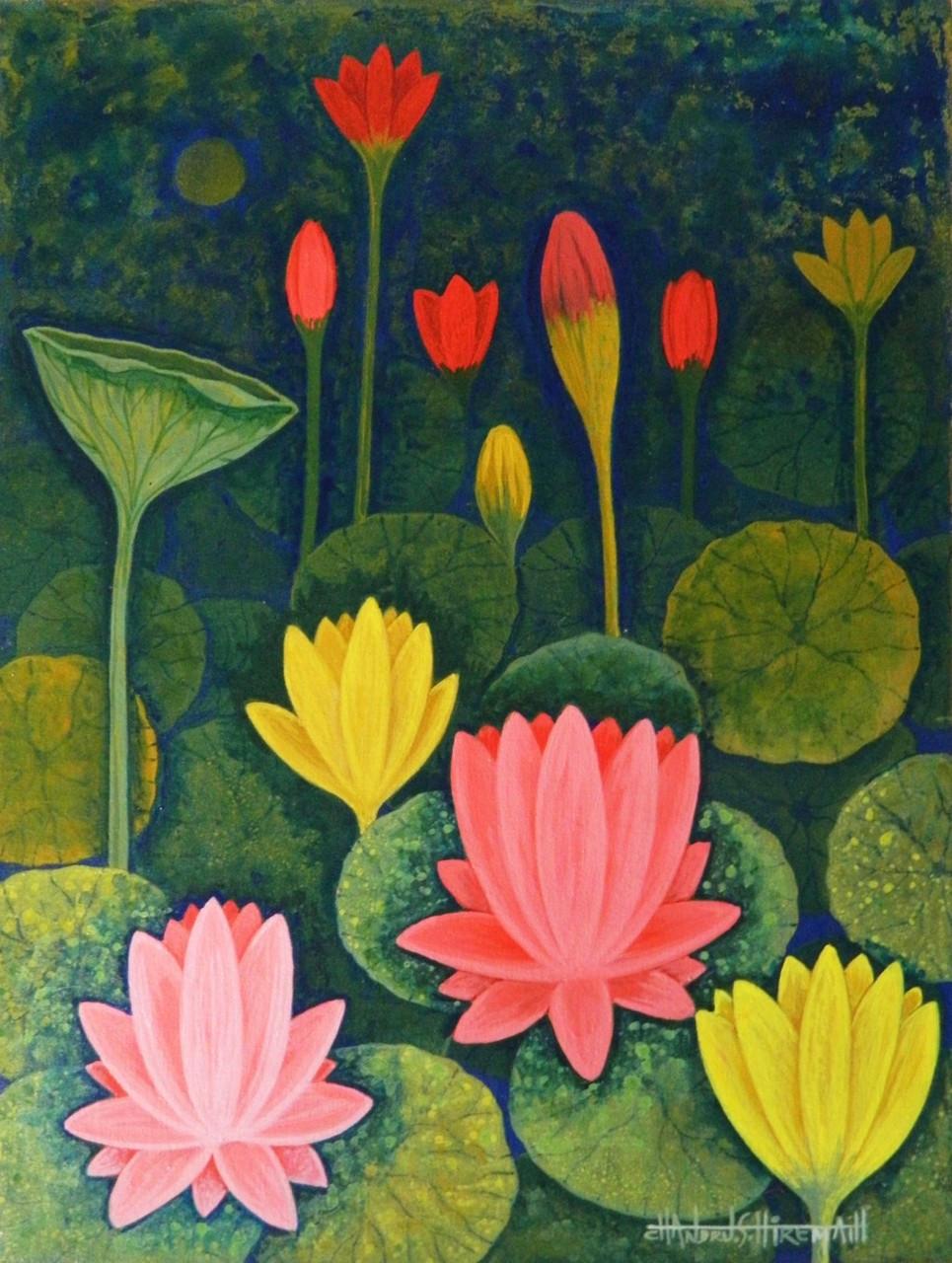 Buy lotus csh0014 handmade painting by chandru s hiremath code lotuslotus csh0014art22314152artist chandru s hiremathacrylic izmirmasajfo