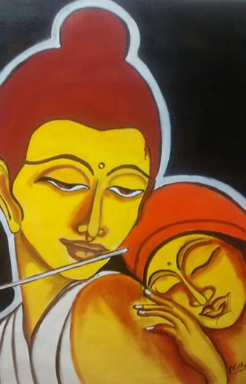 Buy Krishna and radha in love Handmade Painting by Nidhi Jain. Code ...